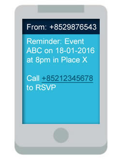 clickSUMO SMS Use Case: Event Reminders